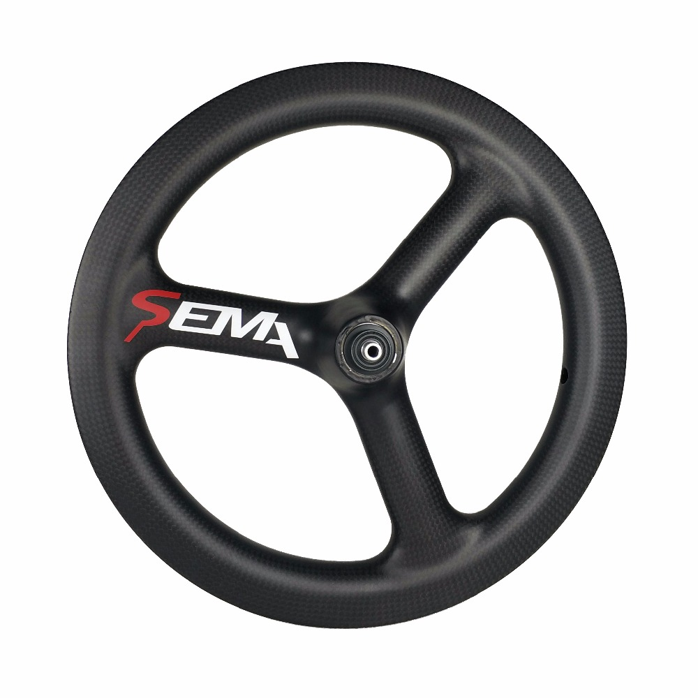 цены Carbon wheels SEMA T700 14inch trispoke best carbon wheel clincher rim for small bike 3K/UD/12k multi-purpose super light weight