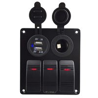 Waterproof 3 Gang Rocker Switch Panel USB 3 1A Marine DC12V 24V USB Socket Charger