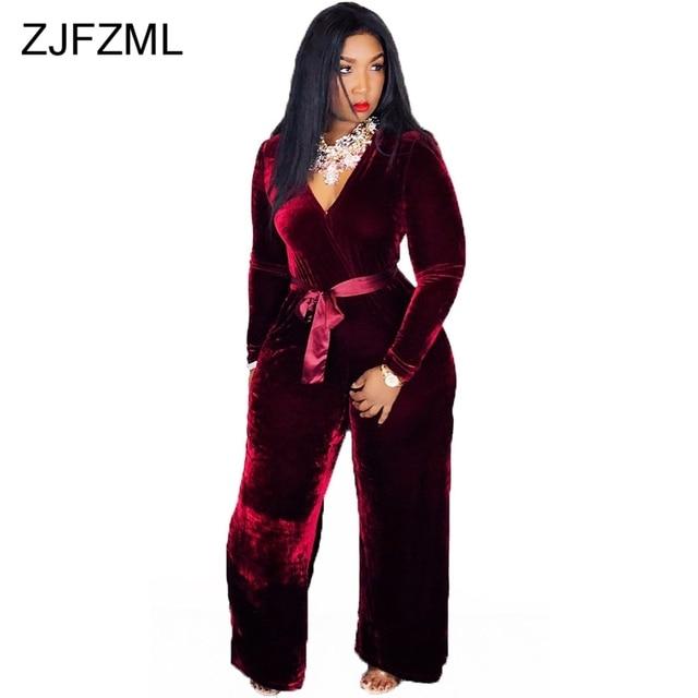 66faccf868709 Vintage Velvet Rompers Womens Jumpsuit Casual Deep V Neck Long Sleeve Wide  Leg Body Mujer Autumn Winter Burgundy Sashes Bodysuit