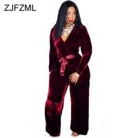 Vintage Velvet Rompers Womens Jumpsuit Casual Deep V Neck Long Sleeve Wide Leg Body Mujer Autumn Winter Burgundy Sashes Bodysuit