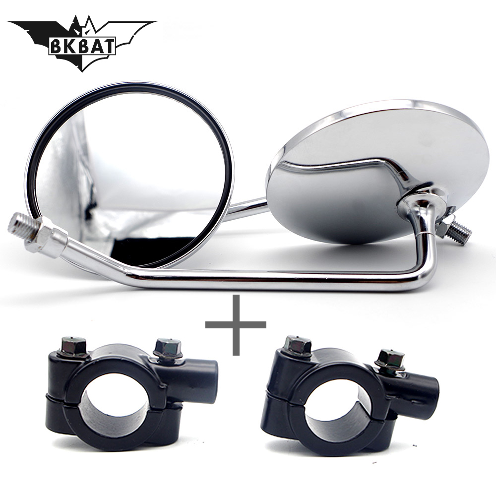 Bkbat 8mm 10mm Universal Motorcycle Mirror With Led Turn Signal Light Rear View For Honda Haley Suzuki Scooter Side Mirrors
