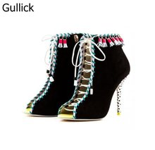 Summer Retro Style Fashion Women Ankle Boots Peep Toe Lace-Up High Heel Sexy Boots Dot Stiletto Heel Pumps Tassel Boots цена и фото