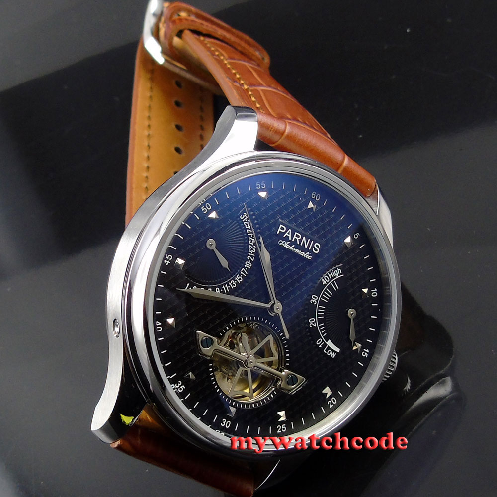 43mm parnis black dial power reserve date automatic movement mens watch P412 40mm parnis white dial vintage automatic movement mens watch p25