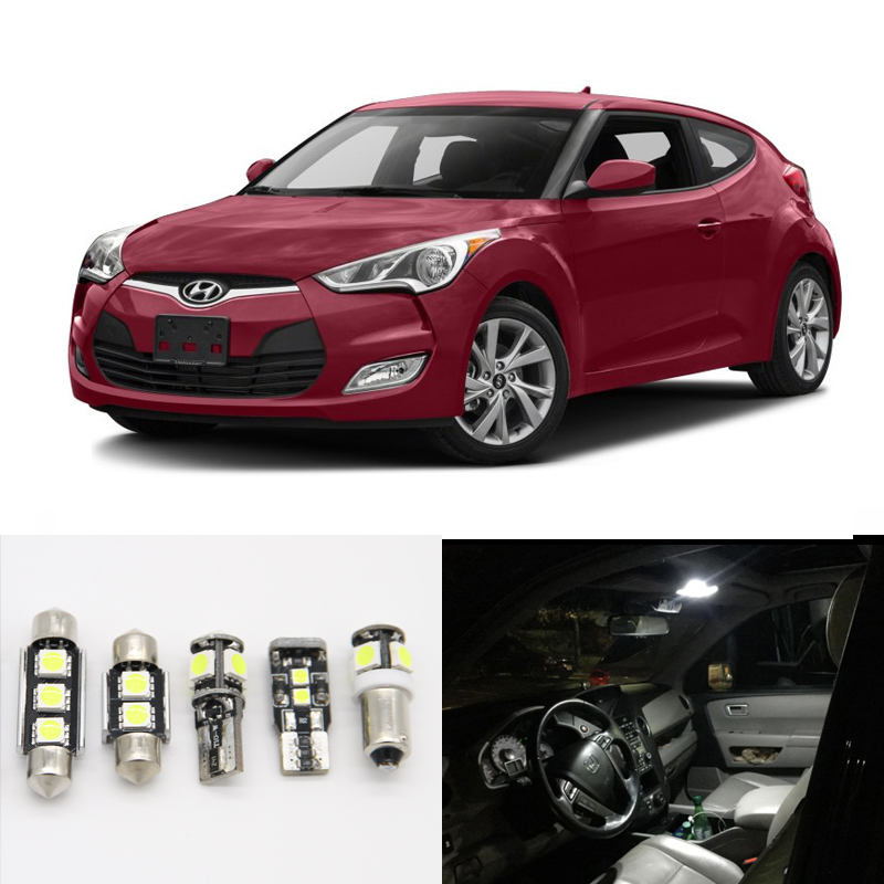 12 Hyundai Veloster: 8PCs White Led Lamp Car Bulbs Interior Package Kit For