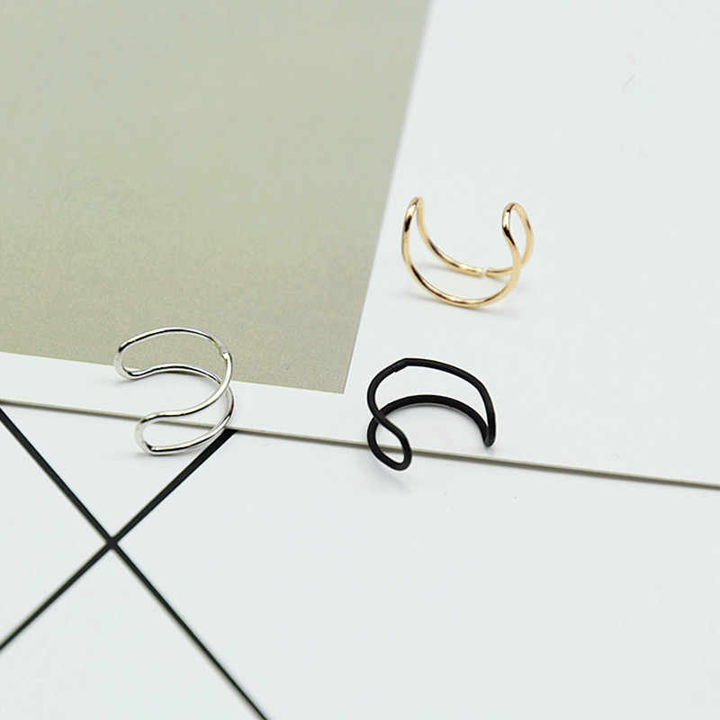 E0220 Fashion Jewelry Black Gold Color Clip Earrings Without Piercing 1 Unit Punk Style Earrings No Hole For Women Wholesale