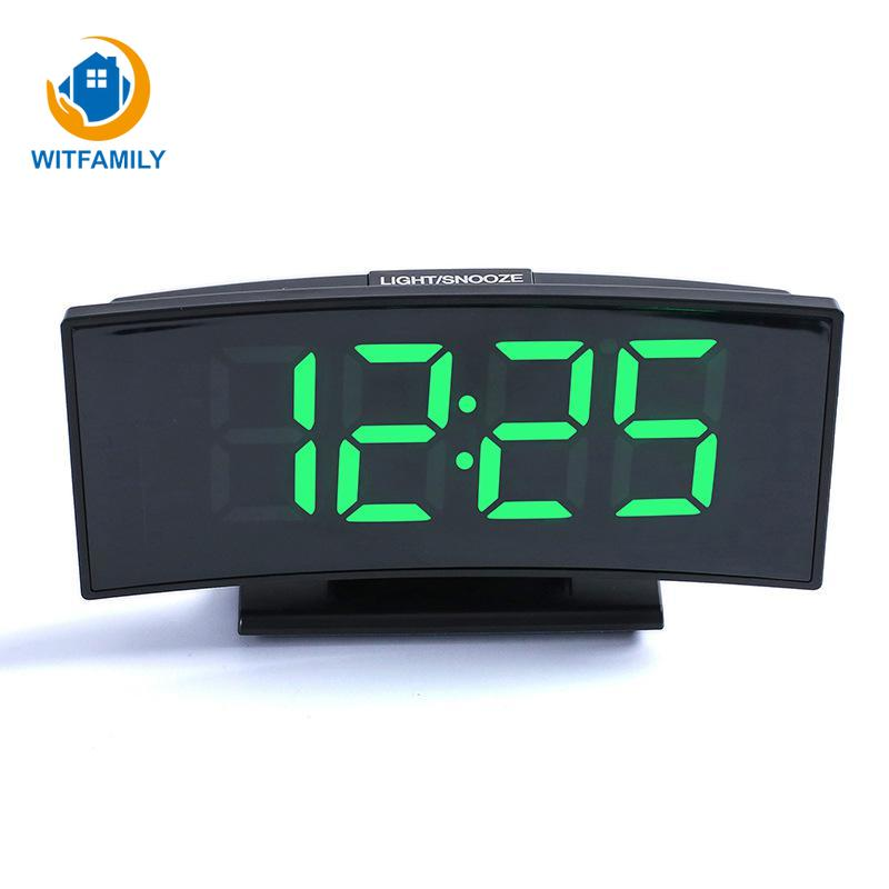 Large Numbe Display LED Desktop Electronic Alarm Clock Temperature Display Snooze Night Watch Arc-shaped digital Clocks