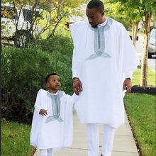 H&D african men boy clothing 3 pieces set kid father son dashiki shirt africa bazin riche outfit clothes tops pant suits ph3068