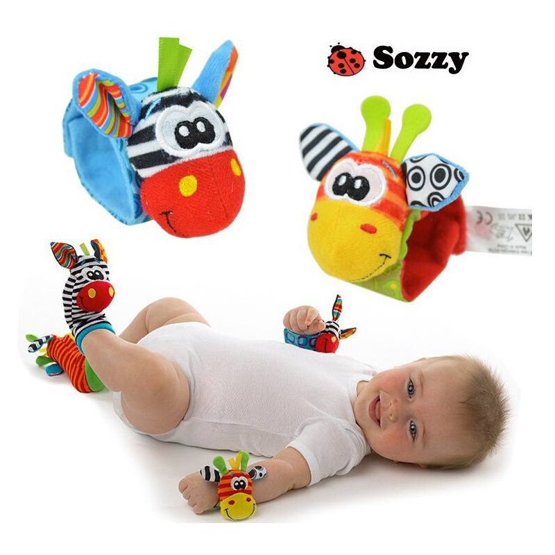4pcs/lot Hot Sozzy Baby Toys Garden Bug Wrist Rattle And Foot Socks 4 Style 2 Wrist Rattles 2 Socks Profit Small