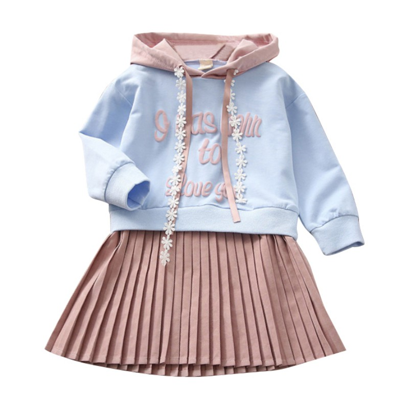 2018 Fashion Girl Dress Autumn Hooded Letter Print Sweatshirt Pleated Dress Fake Two Pieces Hot Child Clothing