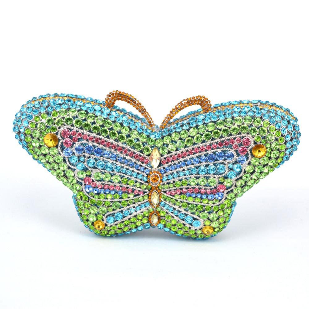 ФОТО Round Luxury Crystal Stylish butterfly Animal Diamante Evening Bag Clutch Wedding HandBag Women Party Purse Pochette Banquet Bag