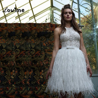 Sexy Short White Lace Ostrich Feather Cocktail Party Dress Luxury Cocktail Dresses For Teens Graduation Robe