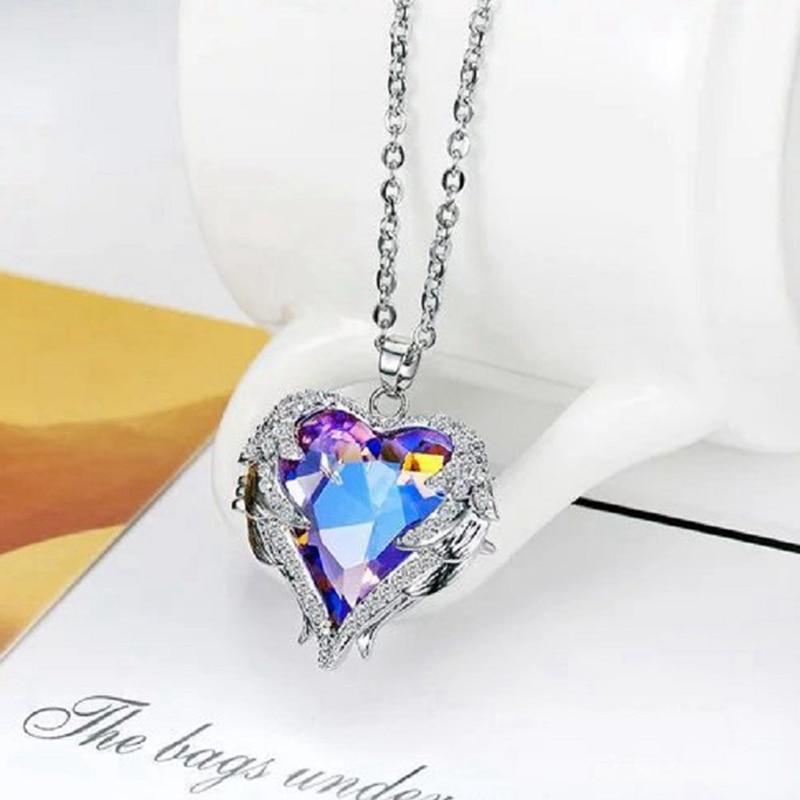 Angel Wings Necklaces Purple Crystal Heart Pendant