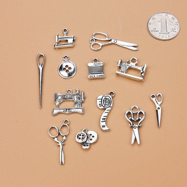 12pcs/lot Scissors Tailor Charm Mixed Silver Pendant DIY Jewelry Accessories Necklace Bracelet Earrings Keychain Brooch