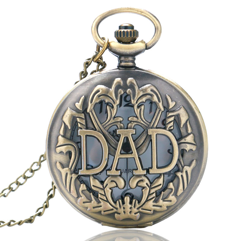 Men's Top Gift Item Steampunk Big DAD Bronze Hollow Half Hunter Quartz Pocket Watch Father's Fob Clock Male Pendant unique new bronze dad pocket watch necklace the greatest dad fob father vintage quartz men watches luxury gift relogio de bolso