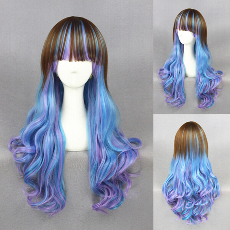Anime Girl With Long Curly Hair: 75CM New Mori Girls Style Long Curly Hair Purple Blue
