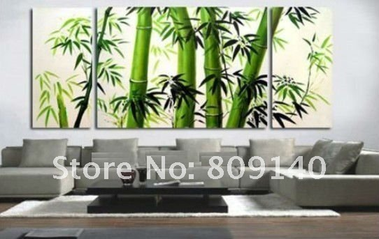 Free Shipping Asia Bamboo Oil Painting Canvas Green