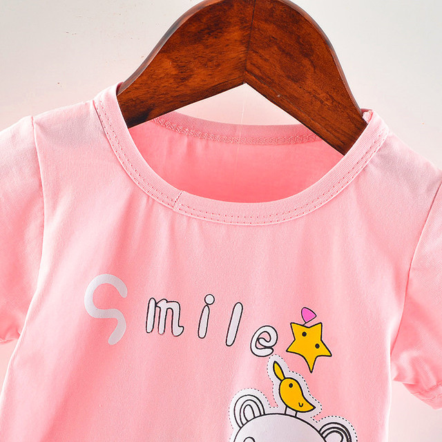 Baby Girls t-shirts Short Sleeve Baby Girl Summer Clothes Cotton Cartoon Baby Girl Tops O-neck Casual Kid Birthday Clothes