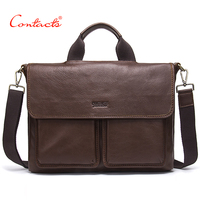 CONTACT S 2017 New Shoulder Bags Men S Genuine Vintage Leather Buckle Designer Cover 14 Inch