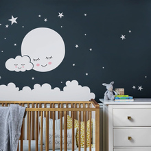 Personalized Clouds star Baby decals Vinyl Wall Sticker Shy Moon Nursery Room Decoration For Bedroom Decor Mural Wallpaper