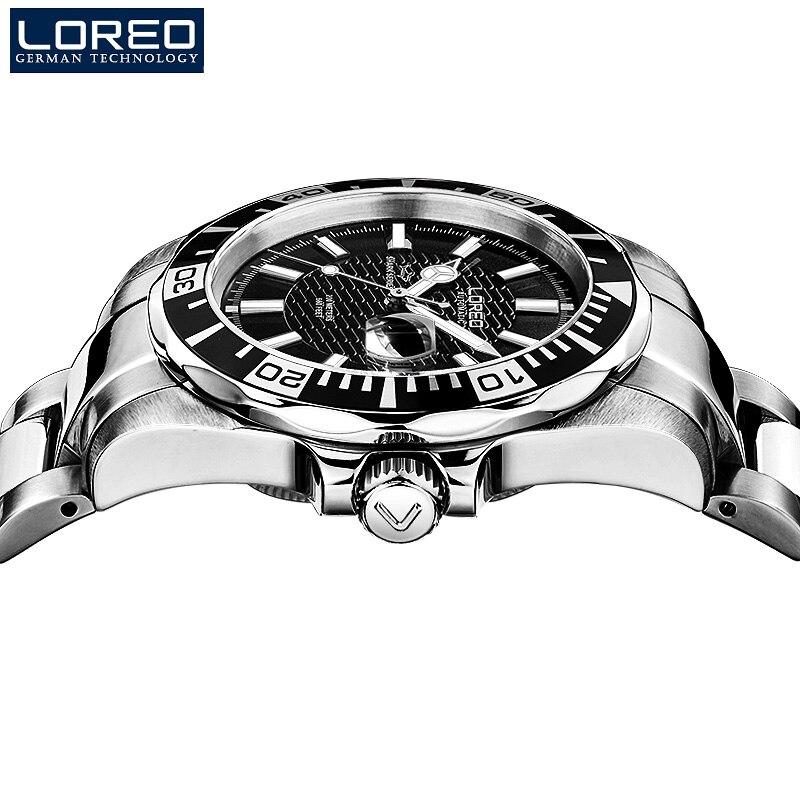 200 м водонепроницаемые автоматические часы для мужчин люксовый бренд LOREO полностью стальные механические часы сапфировый календарь светящиеся часы для мужчин L9202 - 4
