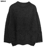 Cashmere Sweater Women 2016 Autumn Winter Basic Hollow Out Crochet Sweater Women Wool Jumpers Pullovers Pull