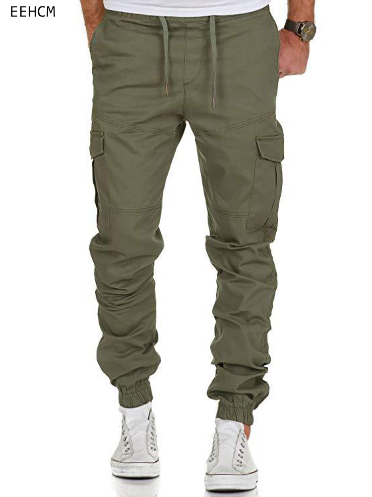 Conffetti Men Solid Color High Rise Cargo Fall Winter Plus Size Trousers Drawstring Activewear Pants