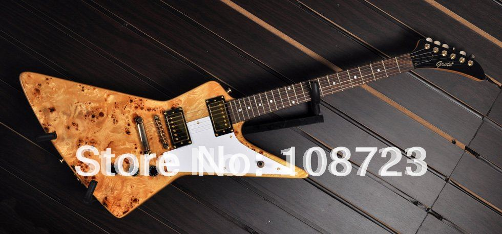 Wholesale - New Explorer Custom Shop 50th Anniversary Korina Electric Guitar With Birds-Eye Maple Top