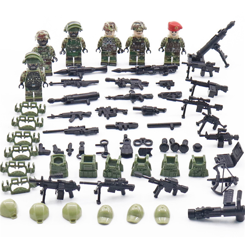 6pcs New Legoingly Military Minifigure Russian Alpha Force SWAT Army Camouflage Soldier Building Blocks Brick Figure Toys Gift6pcs New Legoingly Military Minifigure Russian Alpha Force SWAT Army Camouflage Soldier Building Blocks Brick Figure Toys Gift
