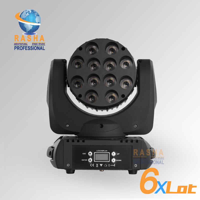 6pcs/LOT Americal DJ Light 12*10W 4IN1 Cree RGBW LED Beam Moving Head Light With LCD Display,Stage Disco Party Moving Head Beam