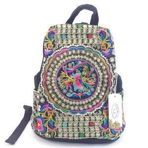 Image 5 - ヴィンテージ刺繍エスニックキャンバスのバックパック女性手作り花刺繍旅行バッグ通学バックパックリュックサックmochila