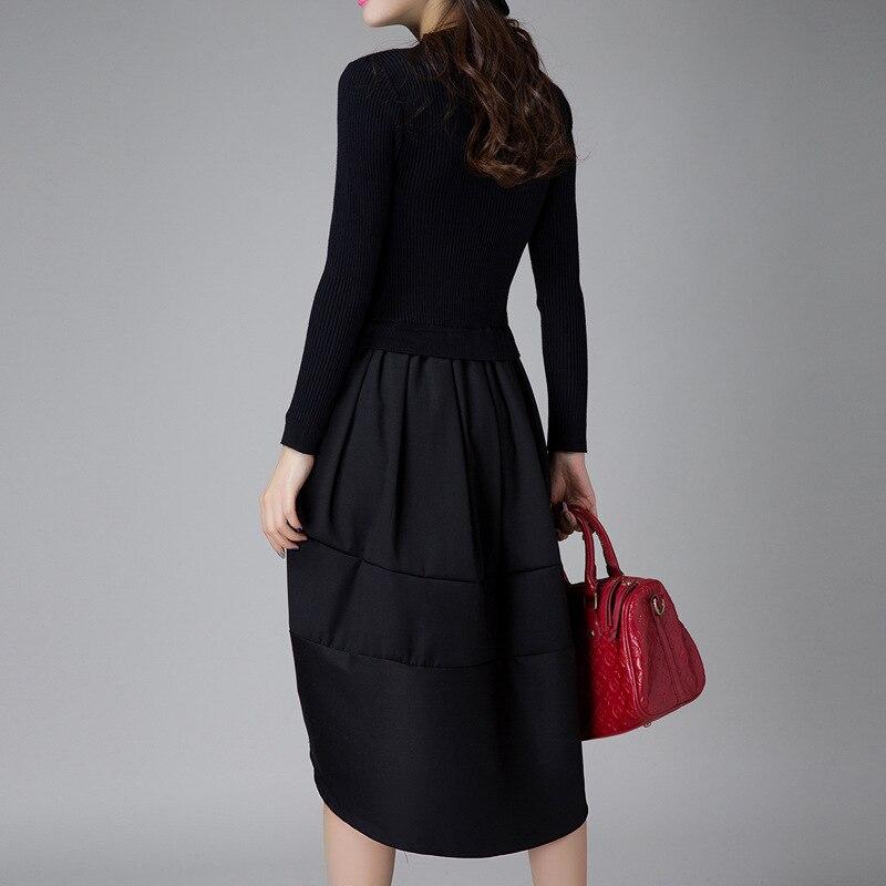 Robes Finewords Femelle Street À 2018 High La Manches Longues Laine Pull Designer Mode Sexy Coréenne D'hiver Tricoté Black Casual Robe KlTF1cJ