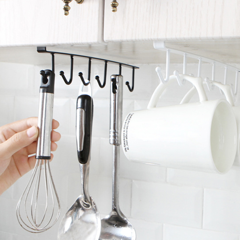2 Pcs / Set Black + White Metal Kitchen Cabinet Storage Rack Organizer Cupboard Hanging with 6 Hooks Home Storage & Organization