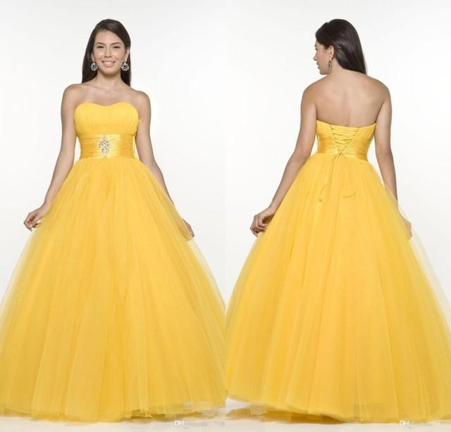 Novo Design Amarelo Vestidos Quinceanera 2017 vestido de Baile Sem Alças Doce 16 Vestido de Festa Vestidos de Baile