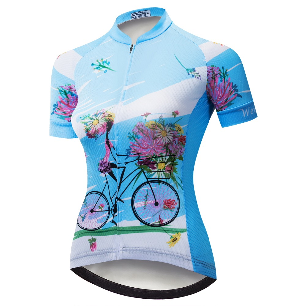 6cb9de6ad Lady Cycling Bike Bicycle Short Sleeve Jersey Women s Biking Shirts Jersey  Girl Sportwear Pink Blue-in Cycling Jerseys from Sports   Entertainment on  ...