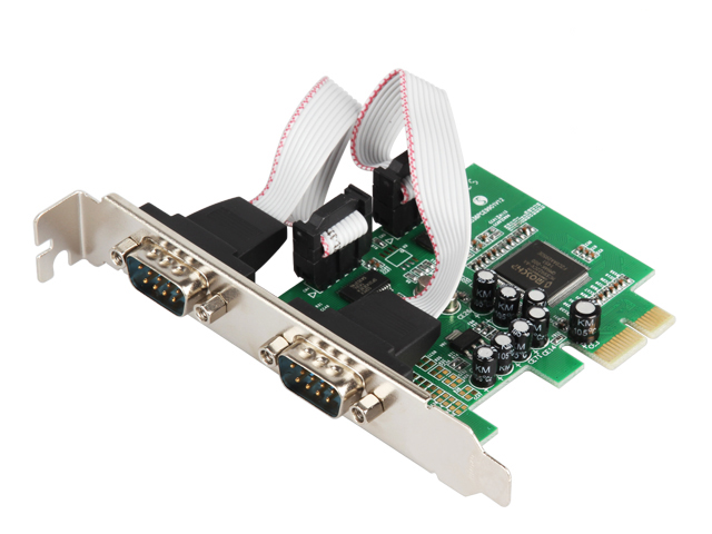 2 Port RS232 RS-232 Serial Port COM to PCI-E PCI Express Card Adapter Converter IOCREST 2-port Serial Low Profile Bracket gilding socket usb to rs232 data converter virtual serial port virtual com port virtual 232 adapter for windows8