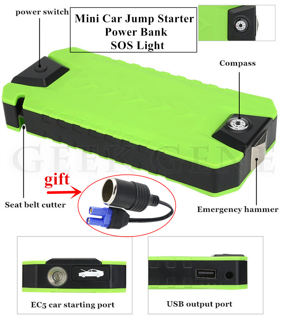High Capacity Car Jump Starter Power Bank 12V 600A Pack Portable Starting Device Car Battery Booster