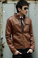 M Korean version of the jacket mens stand collar Slim casual motorcycle artificial leather