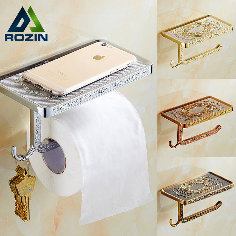 Best Quality Artistic Toilet Paper Holder Wall Mounted Roll Bathroom Kitchen Paper Rack with Mobile Phone Shelf luxury golden color toilet paper holder wall mounted roll toilet paper rack with cover bathroom accessories free shipping 3308