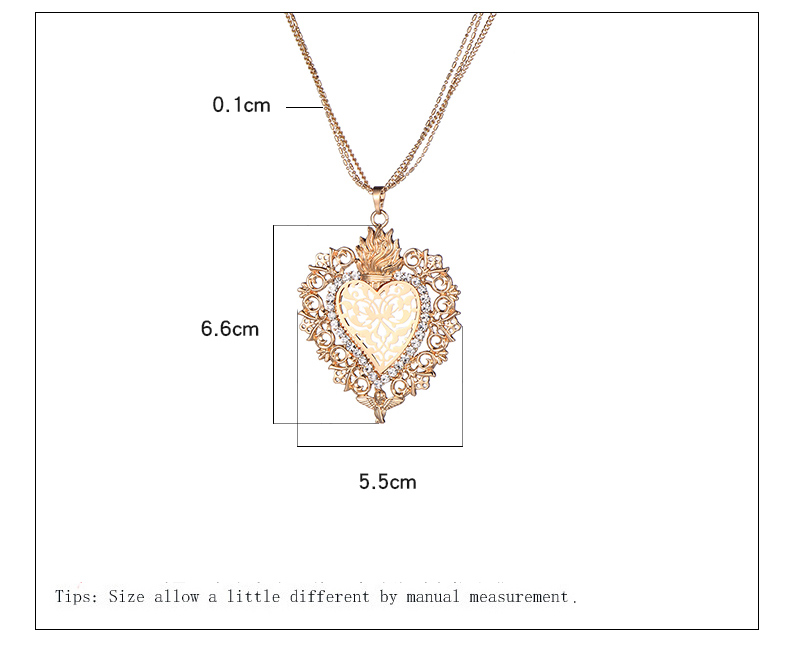 HTB1DKtLcnnI8KJjSszgq6A8ApXaJ - New Gold Flower Heart Angle Glory Pendant Necklace Crystal Long Sweater Collar Women Vintage Jewelry dropshipping Best Gift