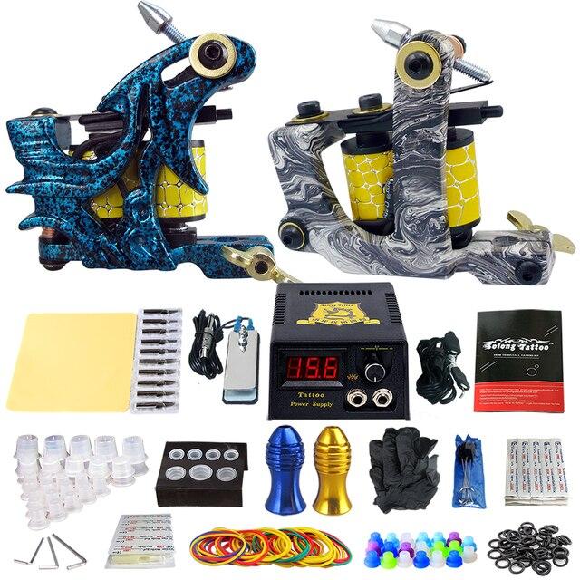 Начинающий Полное Татуировки Kit 2 Профессиональный Комплект Машина Татуировки Катушки Пулеметы Питания Иглы Захваты Набор TK202-7