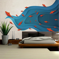 Interior Wallpaper Modern Minimalistic Abstract Fish Kids Wallpaper Murals Wall Art Ideas For Bedroom Sitting Room