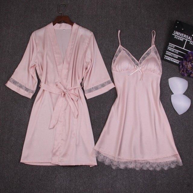 가을 여성 잠옷 세트 2 조각 nightdress 목욕 가운 가슴 패드 여성 새틴 기모노 목욕 가운 잠옷 핑크 가운 정장