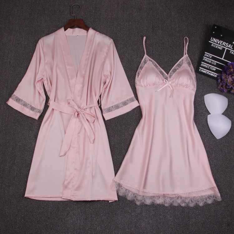 Осенние женские наборы ночных рубашек 2 шт ночной халат с нагрудной накладкой женское атласное кимоно банное платье пижамы розовый халат костюм