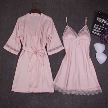 Autumn Women Nightgown Sets 2 Pieces Nightdress Bathrobe With Chest Pad Female Satin Kimono Bath Gown Sleepwear Pink Robes Suit