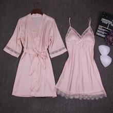 Camicia da notte da donna autunno set 2 pezzi camicia da notte accappatoio con pettorale Kimono in raso femminile abito da bagno indumenti da notte abito rosa