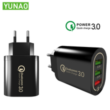 YUNAO BX373 Universal mobile phone charger 18W quick charge 3.0 Passed safety certification US EU plug For all phones