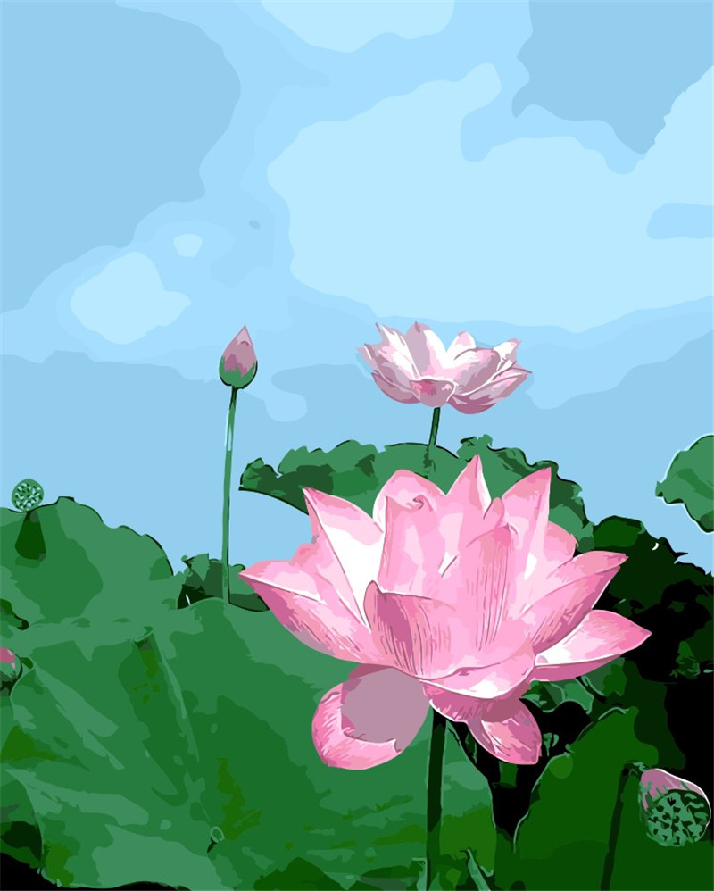 Lotus flower pond the diy digital painting by hand no frame home lotus flower pond the diy digital painting by hand no frame home decoration module oil paintings pictures by numbers wall art in painting calligraphy from izmirmasajfo