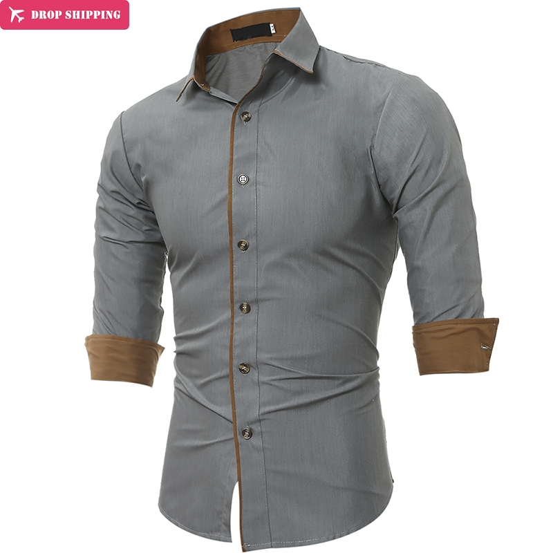 Dropshipping  Classic Men'S Shirts Patchwork Cotton Long Sleeve Shirt Men High Quality Casual Male Social Shirts Slim Fit