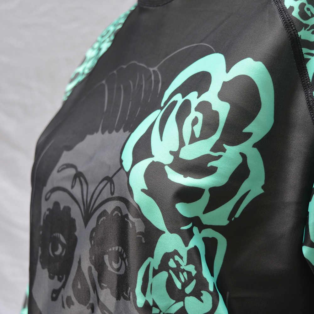 פרחוני הדפסת הפריחה משמר בגדי ים לנשים ארוך שרוול Rashguard לשחות חולצות גלישה למעלה בגד ים Rashguards UPF50 רחצה חליפה
