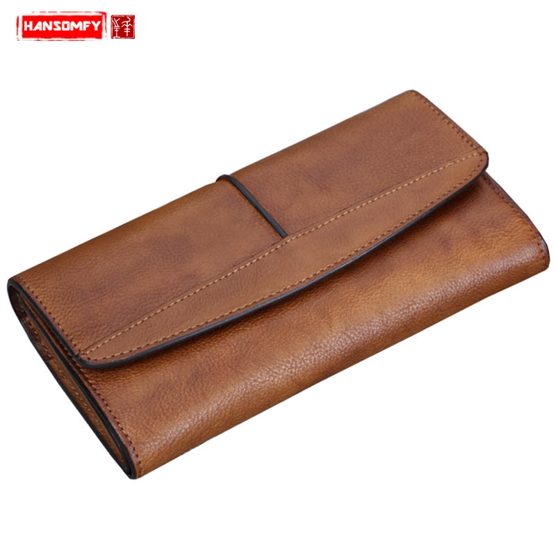 De femmes à la main portefeuille femme en cuir Véritable portefeuille long rétro longue fermeture éclair trois fold portefeuilles carte monnaies des sacs à main D'embrayage sacs
